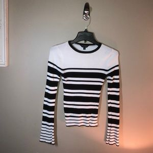 ASOS Knitted Striped Fluted/Bell Sleeve Sweater